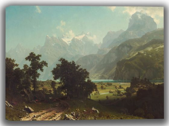 Bierstadt, Albert: Lake Lucerne. Fine Art Canvas. Sizes: A4/A3/A2/A1 (004079)